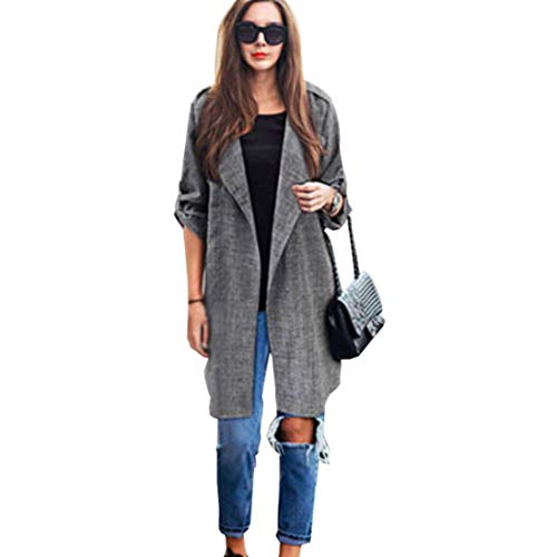 Ratoop Womens Open Front Cardigan, Solid Long Cloak Jackets Waterfall Cardigan Overcoat Blouse Tops (Gray, L)
