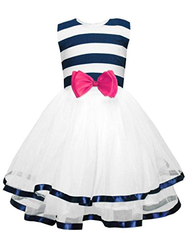 CM-Kid Little Girls Easter dress Striped Polka Dots Tutu Dress Girls Summer White princess Party Dresses 2-7 T]()