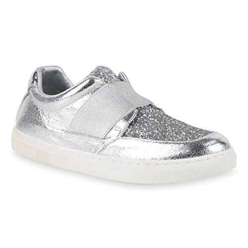 Stiefelparadies Damen Sneaker Slip Ons mit Plateau Glitzer Flandell  40 EUSchwarz Weiss