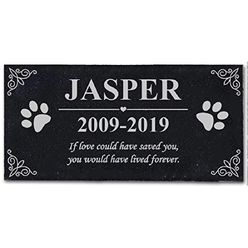 somiss Black Granite Pet Memorial Stones for Dog or Cat Personalized Pet Grave Markers Headstones,12'' x 6''
