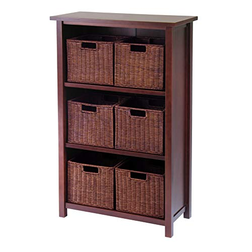 - Winsome Wood Milan Wood 4 Tier Open Cabinet in Antique Walnut Finish and 6 Rattan Baskets in Espresso Finish