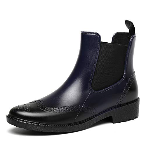 Eleganti Caviglia Boot Antiscivolo Scarpe Rain Impermeabile Chelsea Blu Stivali Donna Pioggia Gomma OiwTPkZuX