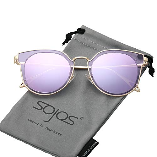 SOJOS Fashion Polarized Sunglasses for Women UV400 Mirrored Lens SJ1057 with Gold Frame/Purple Mirrored Lens -