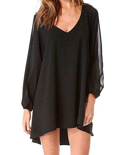 Summer Casual Chiffon Dress (Black) - 3