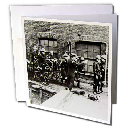 1908 Horse (3dRose Scenes from The Past Magic Lantern Slides - Vintage Fire Brigade Edwardian Merryweather Steam Fire Engine 1908-6 Greeting Cards with envelopes (gc_269854_1))