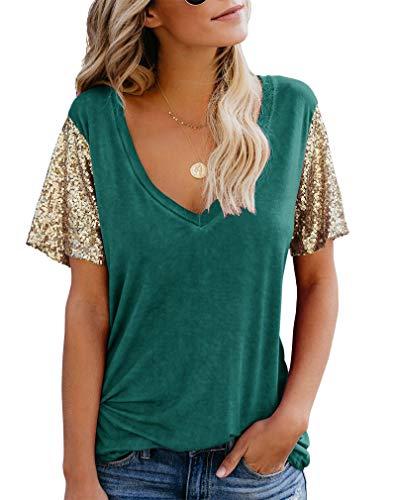 Topstype Women's Sequin Short Sleeve Tee V Neck T Shirts Sequin Loose Blouse Tops Green