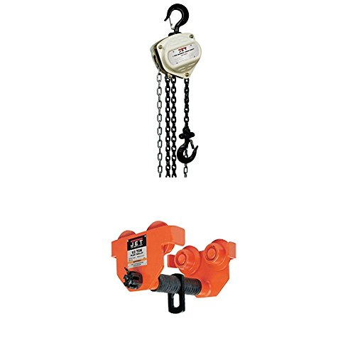 Jet 101910 Hand Chain Hoist with 1-PT, 1-Ton Heavy Duty Manual Trolley -