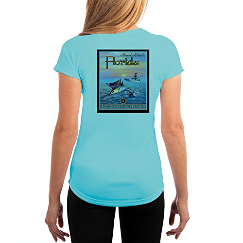 - Vintage Angler Marlin Florida Women's UPF 50+ UV Sun Protection Short Sleeve T-shirt X-Large Water Blue