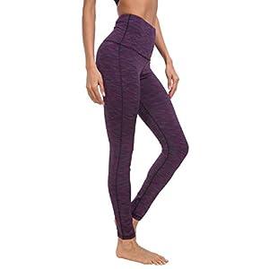 Queenie Ke Women Yoga Legging Power Flex High Waist Running Pants Workout Tights Size M Color Space Dye Purple