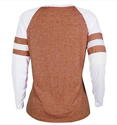 Manches Rond Fashion Col Hauts Automne Pulls Shirts et Femmes Imprime Shirts Printemps Blouse Tees Sweat T Orange2 Chandail Jumpers Patchwork Longues Tops 0XOwqf0