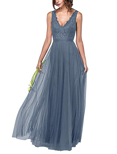 KKarine Women's Zipper V-Neck Sleeveless Tulle Lace Appliqued Bridesmaid Dresses Long Formal Evening Party Gown (8 Dusty Blue)