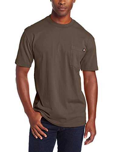 Dickie's Men's Heavyweight Crew Neck Short Sleeve Tee Big-tall,Black Olive,2X-Large Tall