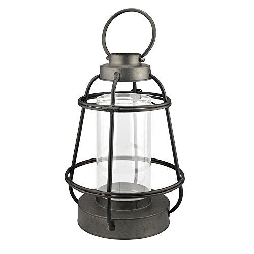 Stonebriar Industrial Worn Black Metal and Glass Cylinder Hurricane Candle Lantern, Farmhouse Home Decor, Unique Centerpiece for Weddings, Birthdays, and Holiday Parties, Large ()