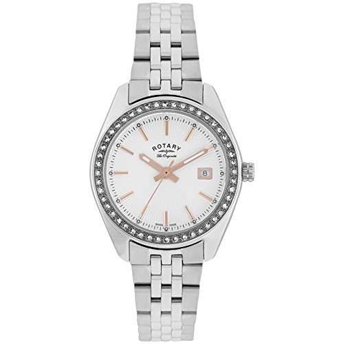 Rotary LB90110-21 Ladies Les Originales Lausanne Stone Set Silver Steel Watch