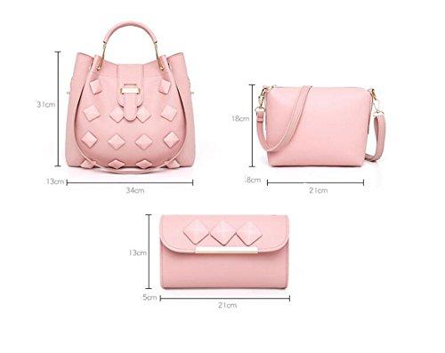 LXYIUN Mujeres Moda PU Mano Bolso De Cuero,Traje De Tres Piezas De Moda Bolso Paquete Diagonal Billetera Paquete Acanalado,Pink Red