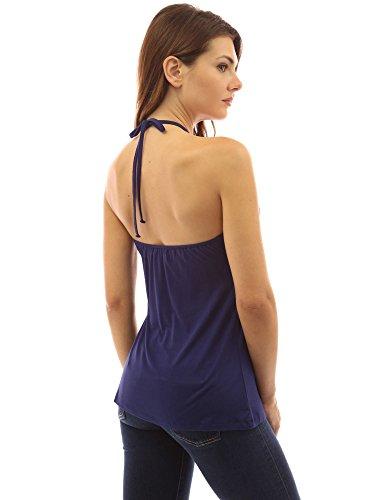 PattyBoutik Mujer geométrica correas v cuello camiseta sin mangas azul oscuro