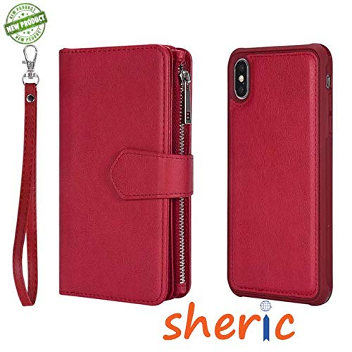 SHERIC XS/X Wallet Case Folio Style [Kickstand Feature] Luxury Card Case Protective PU Leather Flip Cover with Card Slot + Cash Slots + Magnetic Detachable Back case for Apple iPhone Xs/X (Red)