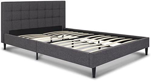Best Choice Products Queen Upholstered Platform Bed with Stitched Headboard, Wooden Slats- Gray