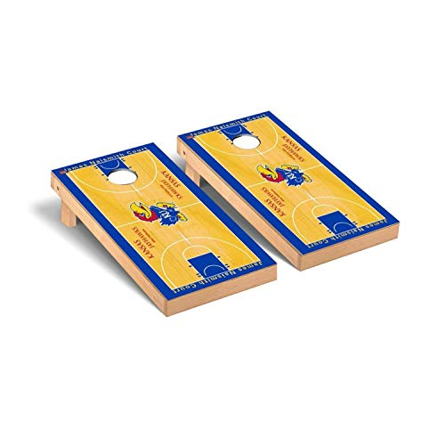 - Victory Tailgate Regulation Collegiate NCAA Basketball Court Series Cornhole Board Set - 2 Boards, 8 Bags - Kansas KU Jayhawks