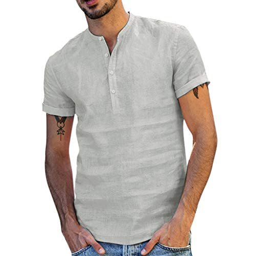 VOWUA Mens Shirts Casual Comfy Baggy Cotton Blend Pocket Solid Long Sleeve Retro Tops Blouse
