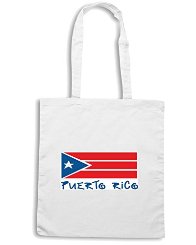 T-Shirtshock - Borsa Shopping TM0229 puerto rico flag flag Bianco