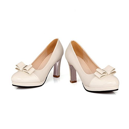 VogueZone009 Women's Round Closed Toe High Heels Solid Pull On Pumps-Shoes Beige 1rWGt