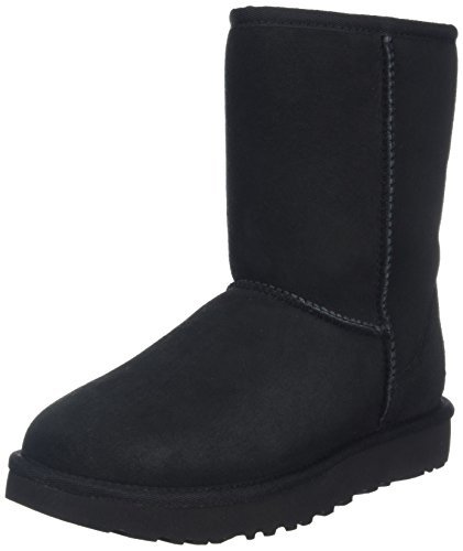 UGG Women's Classic Short II Winter Boot, Black, 8 B US by UGG
