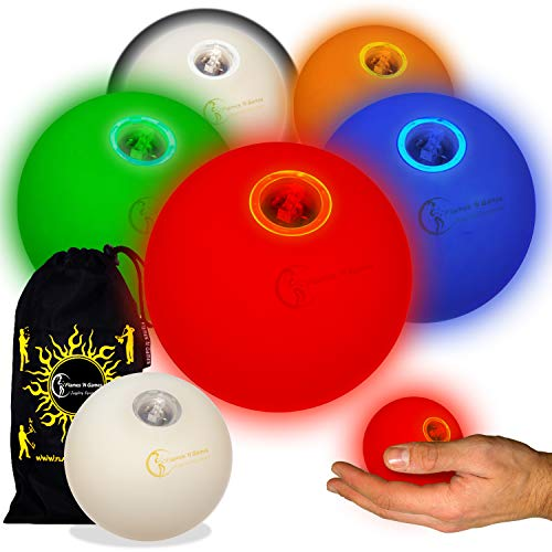 5x Pro LED Glow Juggling Balls - Ultra-Bright - MIX COLORS- Battery Powered Glow LED Juggling Ball Set of 5 with Drawstring Travel - Ultra Fun Ball