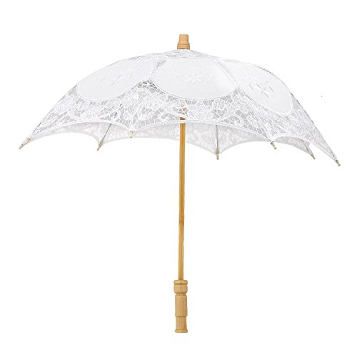 Merssavo Vintage Lace Parasol Romantic Wedding Umbrella Costume Accessory for Wedding Bride Bridal, 23-Inch