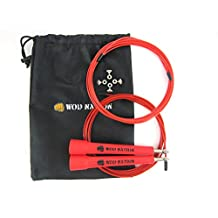 WOD Nation Speed Jump Rope - Blazing Fast Rope for Endurance training for Boxing, MMA, Martial Arts or Just Staying Fit + FREE Video Training Included - Fully Adjustable to Fit Men, Women and Children