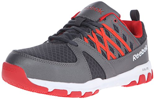 Electrical Hazard Safety Shoes (Reebok Work Men's Sublite RB4005 Work Shoe, Grey/Red, 9 W US)