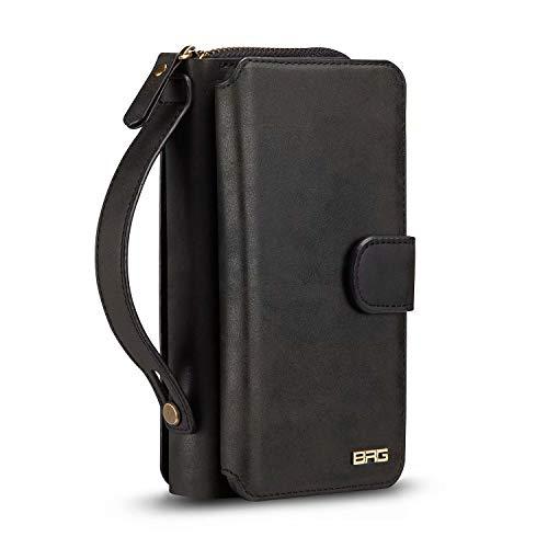 Galaxy S7 Edge Wallet Case,Stylish Premium Leather Detachable Zipper Magnetic Button Closure Large Capacity Wallet Case for Galaxy S7 Edge (Black, S7 Edge)