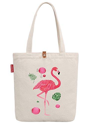 So'each Women's Animal Flamingo Bird Graphic Top Handle Canvas Tote Shopper Bag