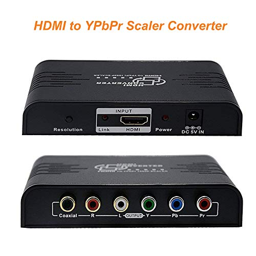 HDMI To Component Converter ,ZAMO 1080P HDMI to YPbPr Component RGB Scaler Converter Supporting Coaxial & R/L Audio Output-With Scaler Function