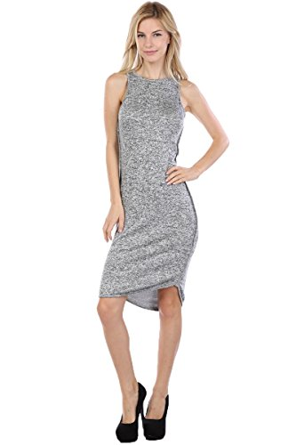 Fits Cloth Women's Round Neck High Low Sleeveless Bodycon Dress Charcoal Large -