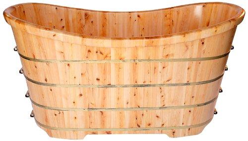 alfi brand ab1105 63inch free standing cedar wood bath tub