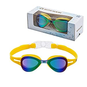 Kids Swimming Goggle Mirrored UV Protective, Anti Fog Colorful Funny Goggles Best Choose For Youth Juniors Children As Swimming Equipment From Online Amazon Store Roterdon (Yellow)