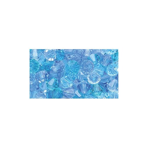 Preciosa 4-Mm Czech Crystal Diamond/Bicone Bead, Blue Lagoon Mix, 144-Piece - Blue 4 Mm Bicone