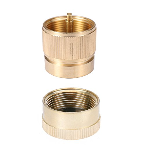 Kbrotech Camping Stove Convert 1LB Propane Small Tank Input and a Lindal Valve EN417 Output Outdoor Cylinder LPG Canister Adapter (brass with cap)