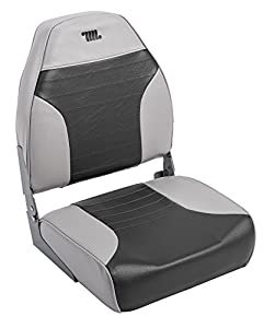 Wise 8WD588PLS-664 Mid-Back Fishing Boat Seat with Logo, (Grey/Charcoal)