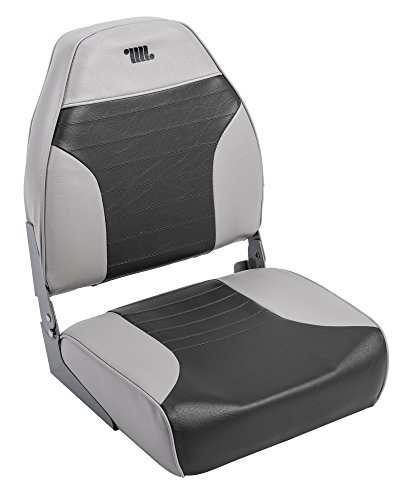 Back Boat Vinyl Seat (Wise 8WD588PLS-664 Mid-Back Fishing Boat Seat with Logo, (Grey/Charcoal))