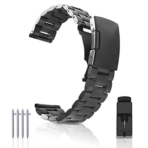 Steel 22mm Watch Bands for Moto 360 2nd Gen 46mm,Pebble Time,Time Steel,Classic,ASUS ZenWatch WI500Q,WI501Q,Samsung Gear 2 R380,Neo R381,Live R382,LG G Watch W100,Urbane,R(Black) (Personalized Stainless Steel Watch)