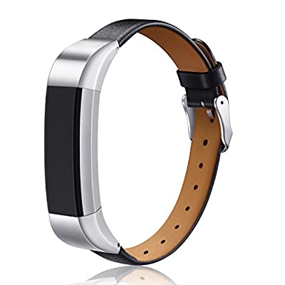 Fitbit Alta Band / Fitbit Alta HR Leather Wristband, Konikit Adjustable Replacement Accessory Strap with Metal Buckle for Fitbit Alta (HR),Small & Large,No tracker