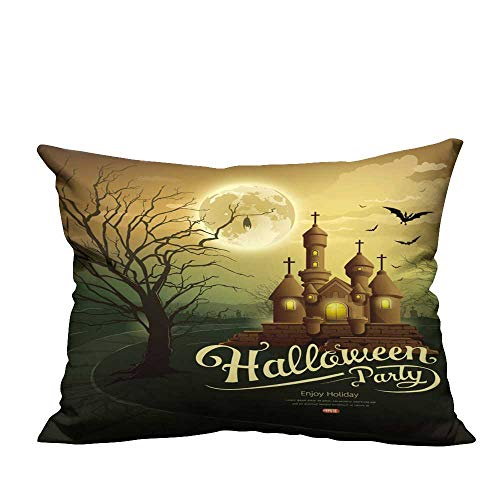 YouXianHome Decorative Couch Pillow Cases Happy Halloween Party Castles with Message,bat,Silhouette Tree,Moon Easy to Wash(Double-Sided Printing) 20x35.5 inch -