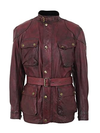 ad0d7be275 Belstaff Old Panther Antique Red Leather Jacket L: Amazon.co.uk: Clothing