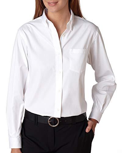 Van Heusen Ladies' Long-Sleeve Blended Pinpoint, Wht, - Pinpoint Oxford Ladies Shirt