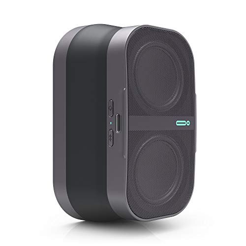 POW Mo Expandable Wireless Speaker + Universal Click Mount & Wallet, Compatible with iPhone & Android Devices, Graphite