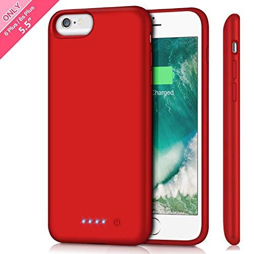 HETP Battery Case for iPhone 6s Plus/ 6 Plus Upgraded 8500mAh Portable Rechargeable Charger Case for iPhone 6 Plus Extended Battery Pack for iPhone 6s Plus Protective Charging Case [ 5.5 inch ]-Red