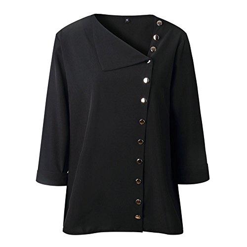 Boucle Automne Noir Printemps Longues Shirt Revers Loose Femme avec Manches T Solike Casual Blouse lgant Col Blouses Chic Tops naBqxP0T