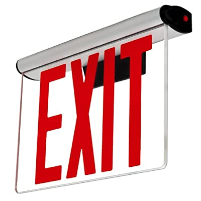 LFI Lights - Edge Lit Exit Sign - Adjustable Angle - Red LED - Surface Mount - NYC Approved - NYCELRT